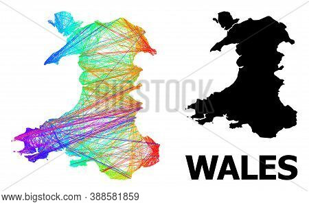 Net And Solid Map Of Wales. Vector Structure Is Created From Map Of Wales With Intersected Random Li
