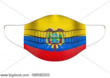 Medical Mask With Ecuadorian Flag. 3d Rendering Isolated On White Background