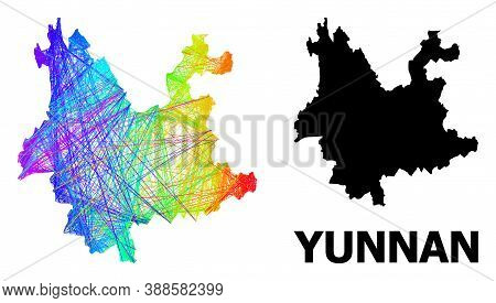 Wire Frame And Solid Map Of Yunnan Province. Vector Structure Is Created From Map Of Yunnan Province