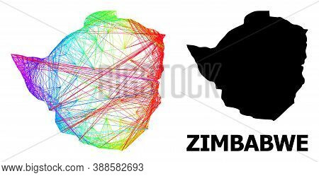 Network And Solid Map Of Zimbabwe. Vector Structure Is Created From Map Of Zimbabwe With Intersected