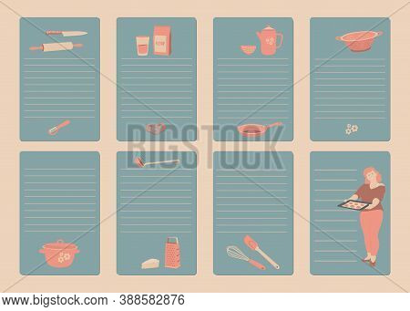 Recipe Cards, Cookbook Blank. Cookbook Or Shopping List Pages. Kitchen Tools, Cooking Girl, Rulers F
