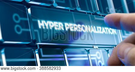 Man Using A Hyper Personalization System By Pressing A Button On Futuristic Interface. Business Conc