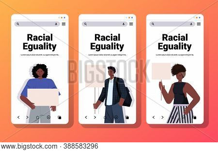 Set African American People Activists Holding Blank Placards Racial Equality Social Justice Stop Dis