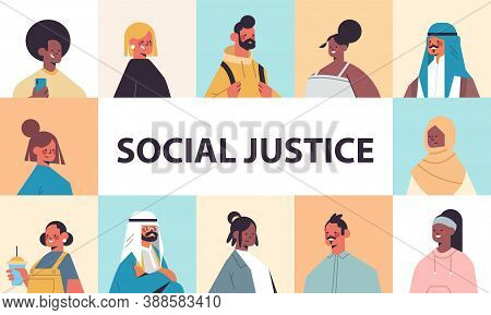 Srt Mix Race People Avatars Racial Equality Social Justice Stop Discrimination Concept Male Female C