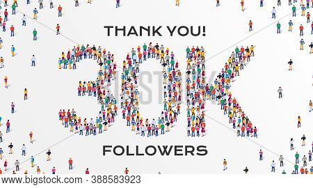 3k Followers. Group Of Business People Are Gathered Together In The Shape Of 30000 Word, For Web Pag