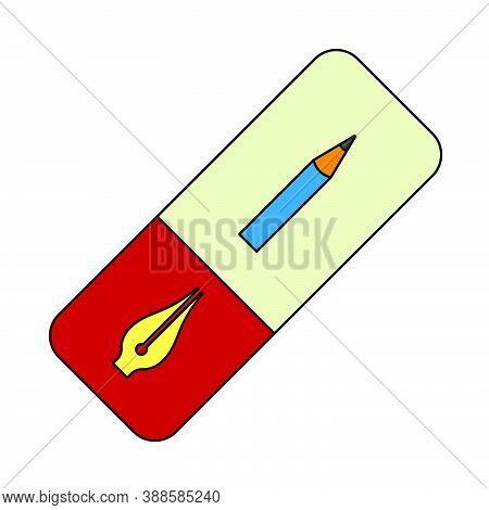Eraser Icon. Editable Outline With Color Fill Design. Vector Illustration.