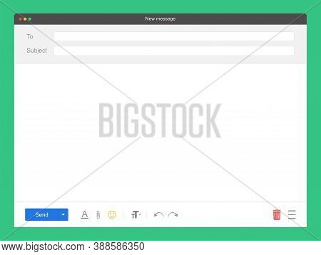 Mail Mockup Window. Blank Feedback Form In Browser. New Message Template. Mockup Of Browser Window F