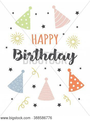 Greeting Card With Party Hats, Stars And Lettering Happy Birthday Isolated On White, Vector Illustra
