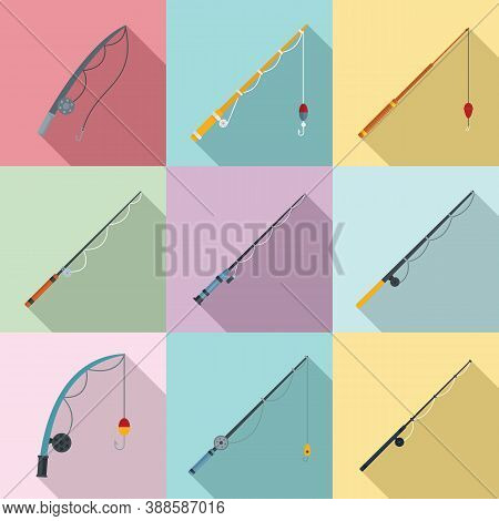 Fishing Rod Icons Set. Flat Set Of Fishing Rod Vector Icons For Web Design
