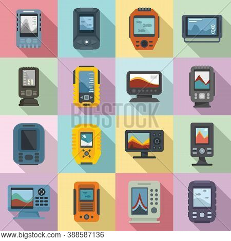 Echo Sounder Icons Set. Flat Set Of Echo Sounder Vector Icons For Web Design