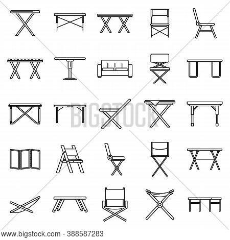 Picnic Folding Furniture Icons Set. Outline Set Of Picnic Folding Furniture Vector Icons For Web Des