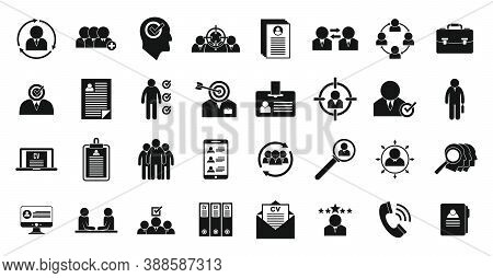 Headhunter Icons Set. Simple Set Of Headhunter Vector Icons For Web Design On White Background