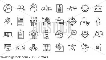 Headhunter Staff Icons Set. Outline Set Of Headhunter Staff Vector Icons For Web Design Isolated On