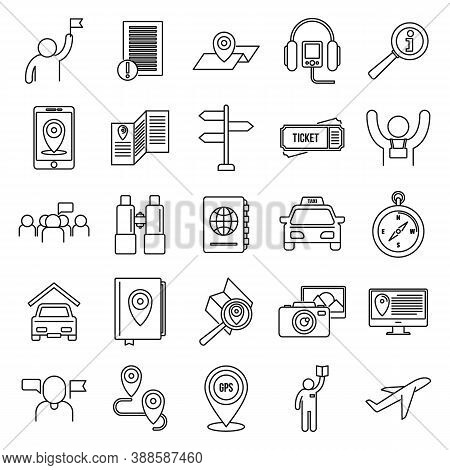 Guide Tour Icons Set. Outline Set Of Guide Tour Vector Icons For Web Design Isolated On White Backgr