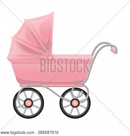 Pink Pram Icon. Cartoon Of Pink Pram Vector Icon For Web Design Isolated On White Background
