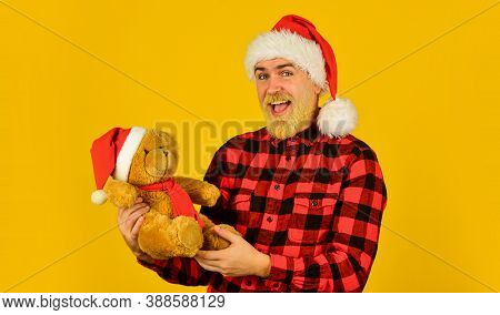 Santa Claus. Bearded Man Celebrate Christmas. Christmas Memories From Childhood. Kind Hipster With T