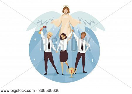 Christianity, Bible, Religion, Protection, Business, Success Concept. Angel Biblical Religious Chara