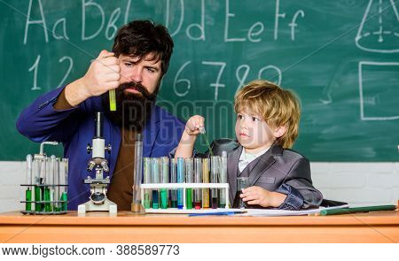 I Love Study In School. Teacher And Pupil Boy In Chemical Laboratory. Study Chemistry And Biology. S