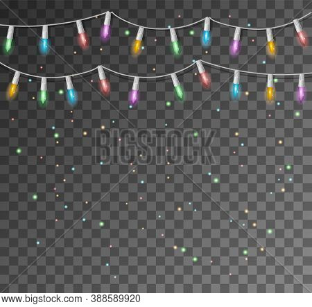 Christmas Glowing Lights. Garlands With Colored Bulbs. Christmas Lights. Vector String With Glowing