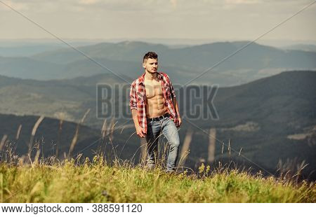 Best Vacation. Countryside Concept. Farmer On Rancho. Man On Mountain Landscape. Camping And Hiking.