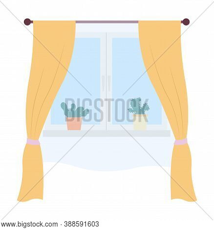 Illustration Of Living Room Window With Yellow Curtains And Potted Plants On The Windowsill Vector I