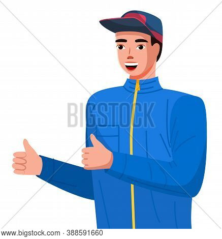 Positive Young Man Making Thumbs Up Sign With Both Hands. Guy In A Sports Sweatshirt With A Lock And