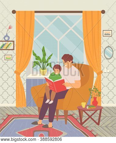 Dad Reading A Tale To His Little Son And Teaching Him Read Lessons. Happy Family, Dad Takes Care Of