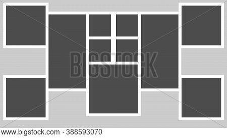 Photo Frames Mock-up. Photorealistic Blank Retro Photo Frames Over Gray Background. Bollage For Phot