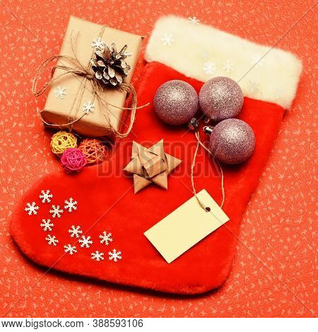 Traditional Christmas Attribute. Christmas Stocking Sock Shaped Bag. Keep Family Traditions. Stockin