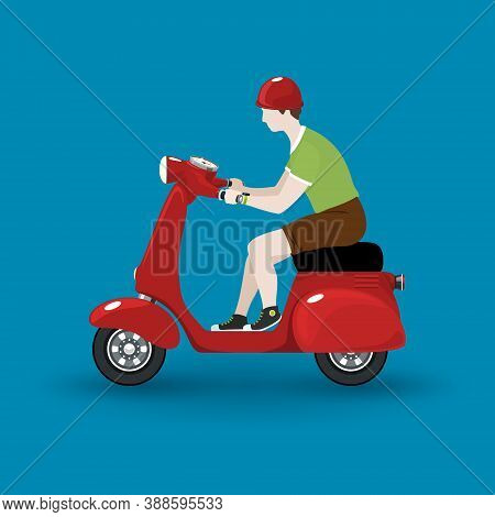Young Guy Rides A Scooter, Red Vintage Scooter With Man Isolated On Blue Background, Vector Illustra