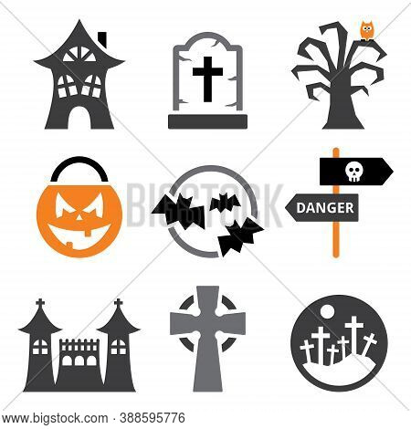 Halloween Vector Icons Set - Scary Pumpking, Graveyard, Bats And Haunted Castle