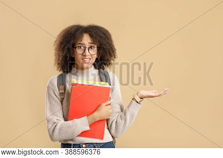 Negative Human Emotions, Unpleasant Or Wrong Choice. Doubting African American Woman Student In Glas