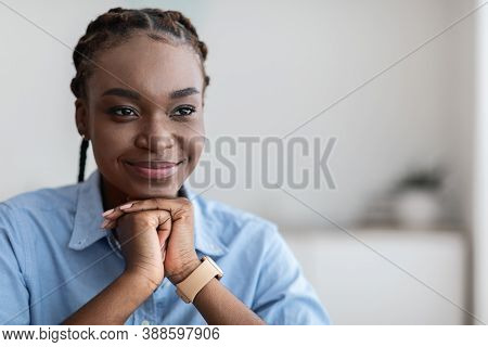 Closeup Portrait Of Pensive African American Woman With Glad Face Expression Thinking About Future P