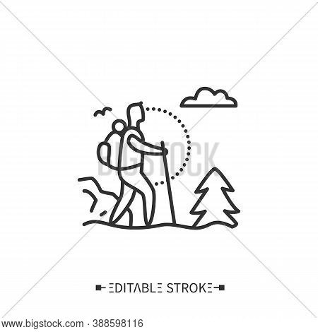 Trekking Line Icon. Adventure Tourism. Mountain Tourism. Backpacking. Long Distance Walking Trip Wit