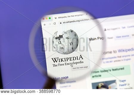 Ostersund, Sweden - October 7, 2020 Wikipedia website under a magnifying glass.. Wikipedia is a free online encyclopedia,