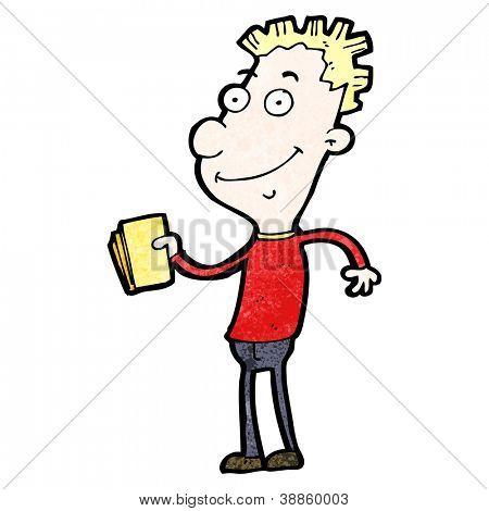cartoon boy with gold tickets