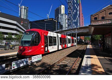 Sydney, Australia - 01 Jan 2019: The Tram In Darling Harbour In Sydney, Australia