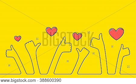 Thumbs Up Hands Yellow Background. Continuous Line Hands With Like Sign. Good Feedback, Customer Thu