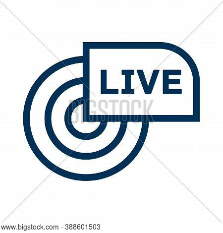 Live Broadcast Line Icon. Reportage, Webcast Concept Symbol. Online Tv, Radio Channel Emblem. Outlin