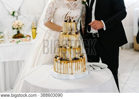 Cropped Bride And A Groom Is Cutting Their Rustic Wedding Cake On Wedding Banquet. Hands Cut The Wed