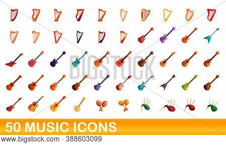 50 Music Icons Set. Cartoon Illustration Of 50 Music Icons Vector Set Isolated On White Background