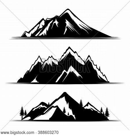 Set Of Mountains. Mountain Icon Design Isolated Flat. Mountain Collection Image. Mountain Simple Sig