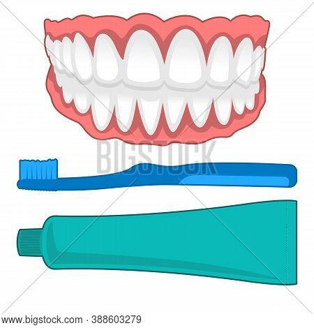Vector Isolated Illustration Of Tooth And Accesories. Concept Of Tooth Cleaning, Care And Protection