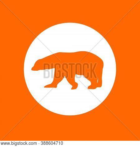 Polar Bear Symbol Icon. In White Circle On A Orange Background.