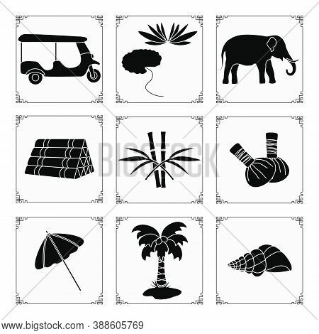 Thailand Symbols Set Vector Illustration Umbrella, Shell, Palm Tree, Lily, Tuk-tuk, Elephant, Bamboo