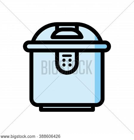 Slow Cooker Mono Stroke Line Icon. Electronic Crock Pot Or Steamer Outline Pictograph. Kitchen Equip