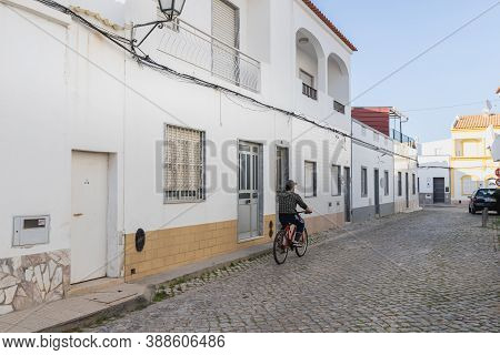 Quarteira, Portugal - February 27, 2020: Architecture Detail Of Typical Small Houses In The City Cen