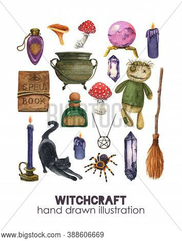 Watercolor Witchcraft Set. Voodoo Rag Doll, Potion Pot, Broom, Cat, Ritual Candle. Spell Book, Mushr