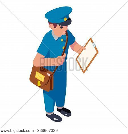 Postman Delivery Icon. Isometric Of Postman Delivery Vector Icon For Web Design Isolated On White Ba