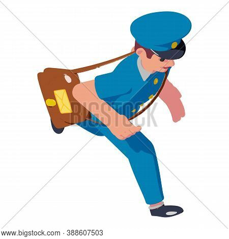 Running Postman Icon. Isometric Of Running Postman Vector Icon For Web Design Isolated On White Back